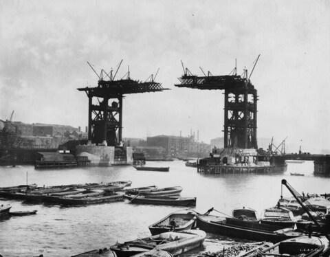 Tower Bridge, before it was finished - Credit: London Stereoscopic Company