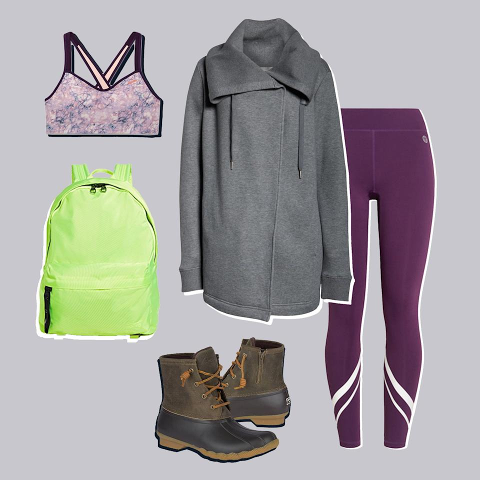 """<p>Sure, bad weather makes it oh so easy to justify canceling a workout. But why should you? Once you have the right footwear—like these no-slip boots—you can make it to just about any destination. Once you see how stylish they look with your favorite leggings…well, youÆll already be out the door.</p> <p><em><strong>Sperry Saltwater Duck Boots, $110, <a href=""""https://www.sperry.com/en/saltwater-duck-boot/13750W.html?dwvar_13750W_color=STS99729"""">sperry.com</a></strong>. <a href=""""https://shop.nordstrom.com/s/zella-nola-wrap-sweatshirt/5220573?origin=category-personalizedsort&breadcrumb=Home/Women/Clothing/Activewear/Sweatshirts%20&%20Hoodies&color=grey%20dark%20heather"""">Sweatshirt</a>, $89. <a href=""""https://www.brooksrunning.com/en_us/uprise-crossback-sports-bra/300614.html"""">Sports Bra</a>, $44. <a href=""""https://www.toryburch.com/chevron-leggings/17219.html?color=510"""">Leggings</a>, $125. <a href=""""https://www.shopbop.com/rbk-rucksack-reebok-x-victoria/vp/v=1/1521292606.htm?folderID=13512&fm=other-viewall&os=false&colorId=87098"""">Backpack</a>, $180.</em></p>"""