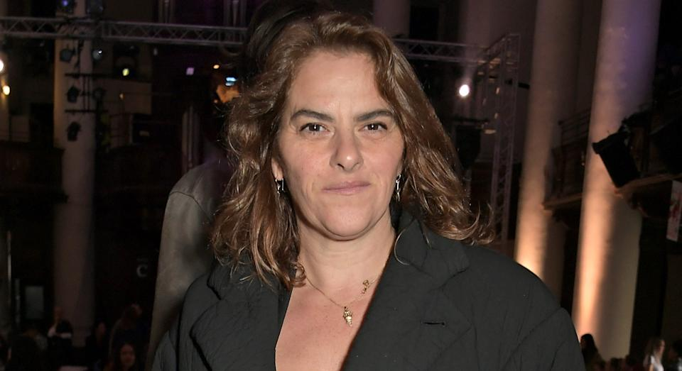Tracey Emin has been diagnosed with squamous cell bladder cancer, pictured here during London Fashion Week, February 2019 (Getty)