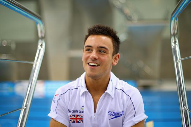 LONDON, ENGLAND - JANUARY 22: Tom Daley of Great Britain looks on during an interview at the London Aquatics Centre on January 22, 2014 in London, England. (Photo by Clive Rose/Getty Images)