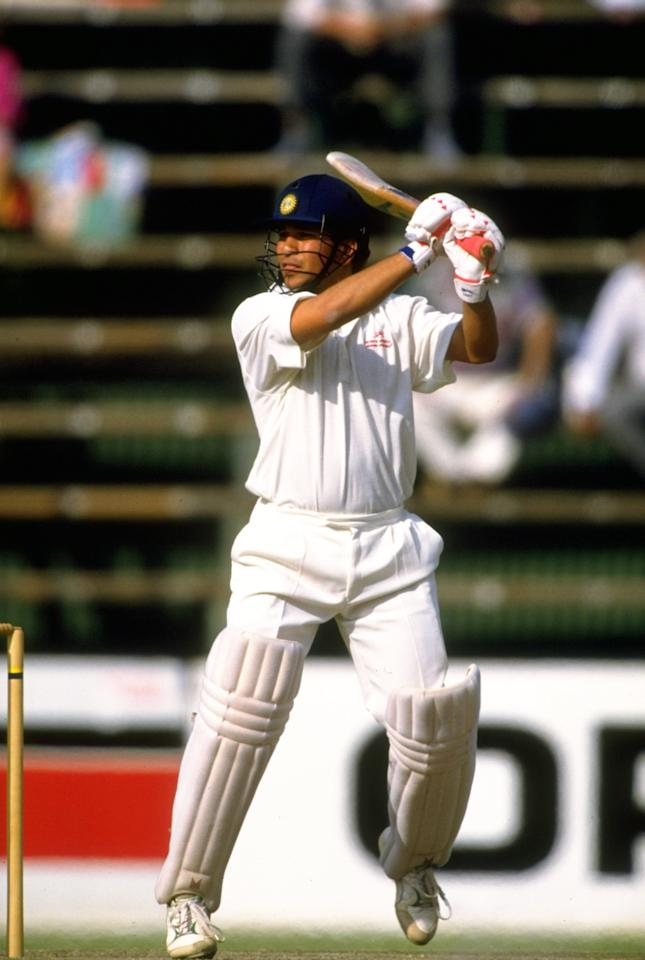 26-30 Nov 1992:  Sachin Tendulkar of India in action during the Second Test match against South Africa at The Wanderers in Johannesburg, South Africa. The match ended in a draw. \ Mandatory Credit: Mike  Hewitt/Allsport