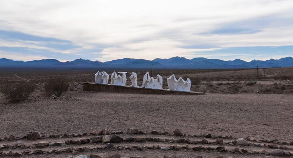 The white cloaked figures seen in the Nevada desert.