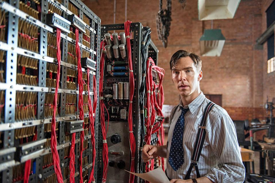 A still from the movie The Imitation Game, where Benedict Cumberbatch plays British mathematician, Alan Turing. Alan (Benedict) is seen in front of the cryptography machine.