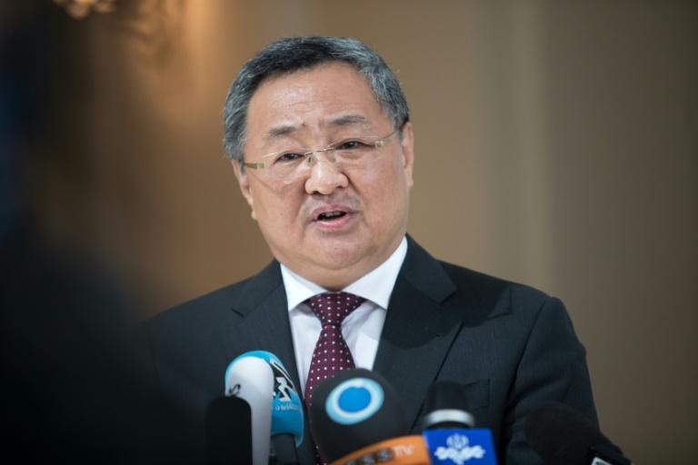 """The head of the Chinese delegation, Fu Cong, said there had been some """"tense moments"""" at the talks in Vienna on Sunday (AFP Photo/ALEX HALADA)"""