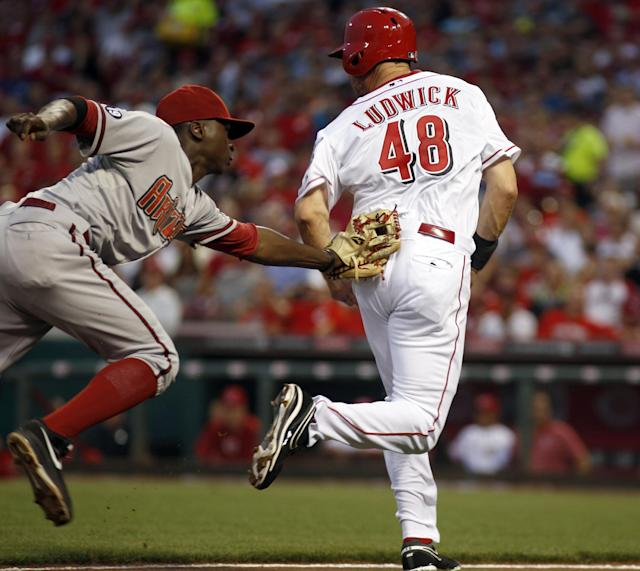 Cincinnati Reds' Ryan Ludwick, right, is tagged out between third and home by Arizona Diamondbacks shortstop Didi Gregorius, left, after Bronson Arroyo grounded into a fielders choice in the fourth inning during a baseball game, Monday, Aug. 19, 2013, in Cincinnati. (AP Photo/David Kohl)