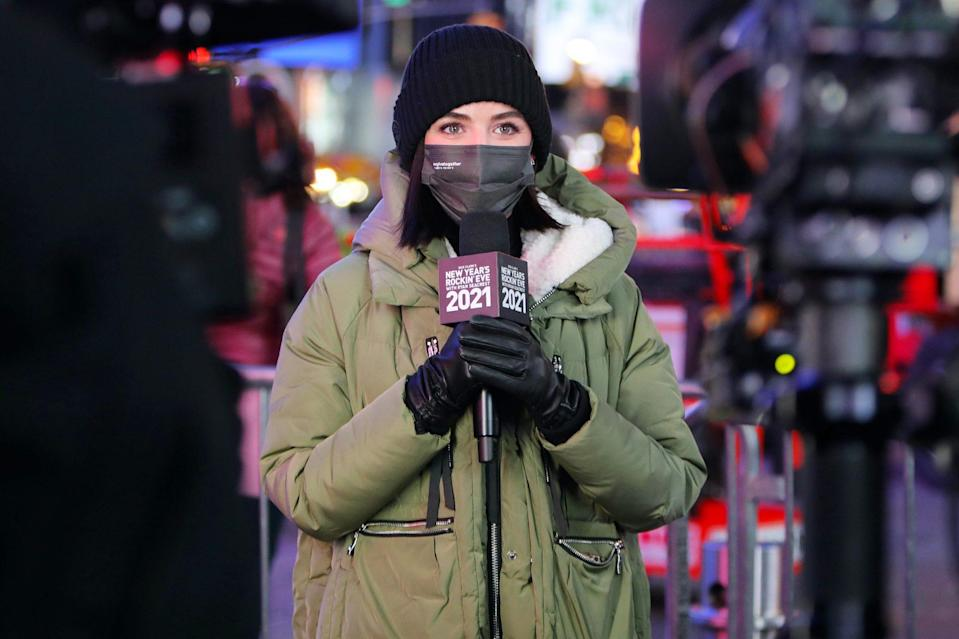 <p>Lucy Hale gets all warmed up for New Year's Eve celebrations in New York City's Times Square on Thursday, practicing for ABC's <em>Dick Clark's New Year's Rockin' Eve.</em></p>