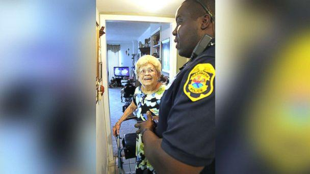 PHOTO: Betty Helmuth, 94, of Clearwater, Fla., answered her door on Sept. 7, 2017, for Officer James Frederick and his colleagues of the Clearwater Police Department who greeted her with hurricane supplies before losing power from Hurricane Irma. (Clearwater Police Department )