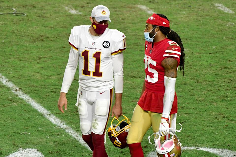 Veteran QB Alex Smith (11) and CB Richard Sherman are currently waiting to find out which NFL team they'll play for next.