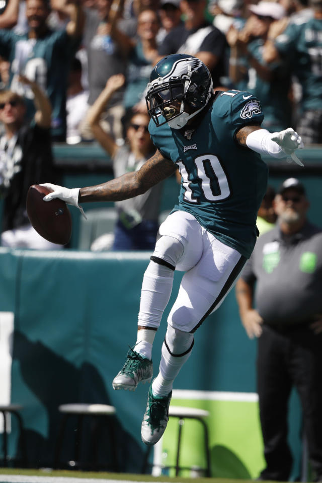 Philadelphia Eagles' DeSean Jackson celebrates after scoring a touchdown during the first half of an NFL football game against the Washington Redskins, Sunday, Sept. 8, 2019, in Philadelphia. (AP Photo/Matt Rourke)