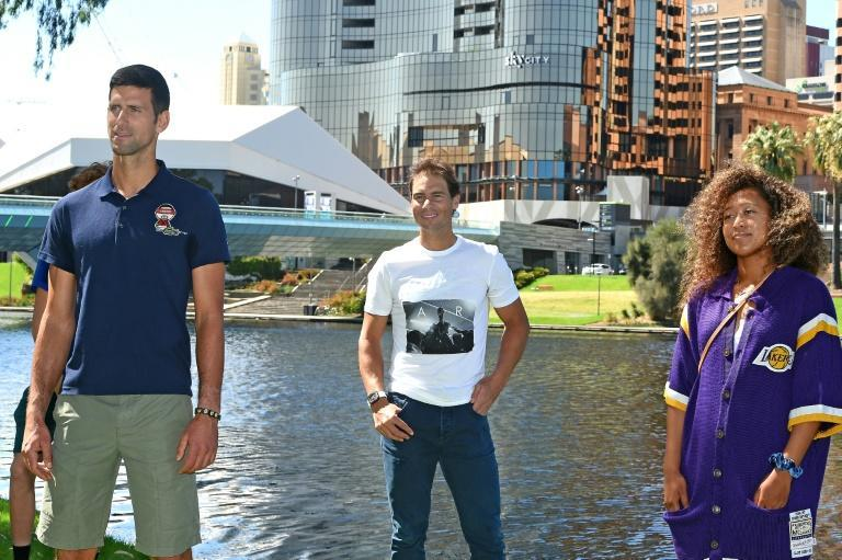 (L-R) Djokovic, Rafael Nadal and Osaka played an exhibition event in Adelaide