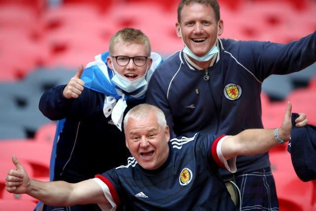 Scotland fans in the stands at Wembley