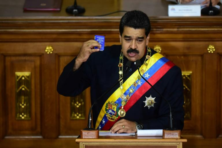 Venezuelan President Nicolas Maduro addresses the all-powerful pro-Maduro assembly which has been placed over the National Assembly and tasked with rewriting the constitution, in Caracas on August 10, 2017