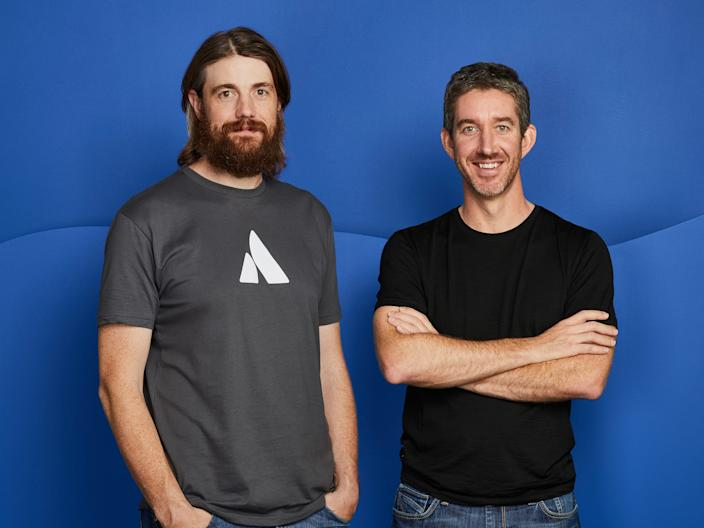 Atlassian co-CEOs Mike Cannon-Brookes (left) and Scott Farquhar (right)