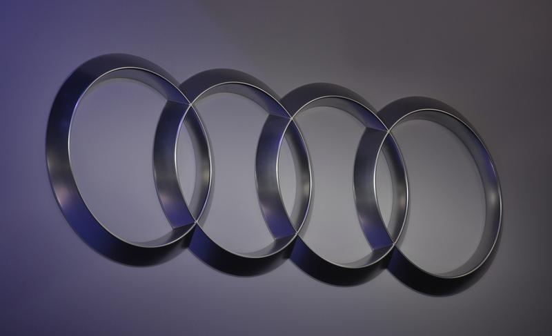 The Audi logo is shown at the North American International Auto Show in Detroit