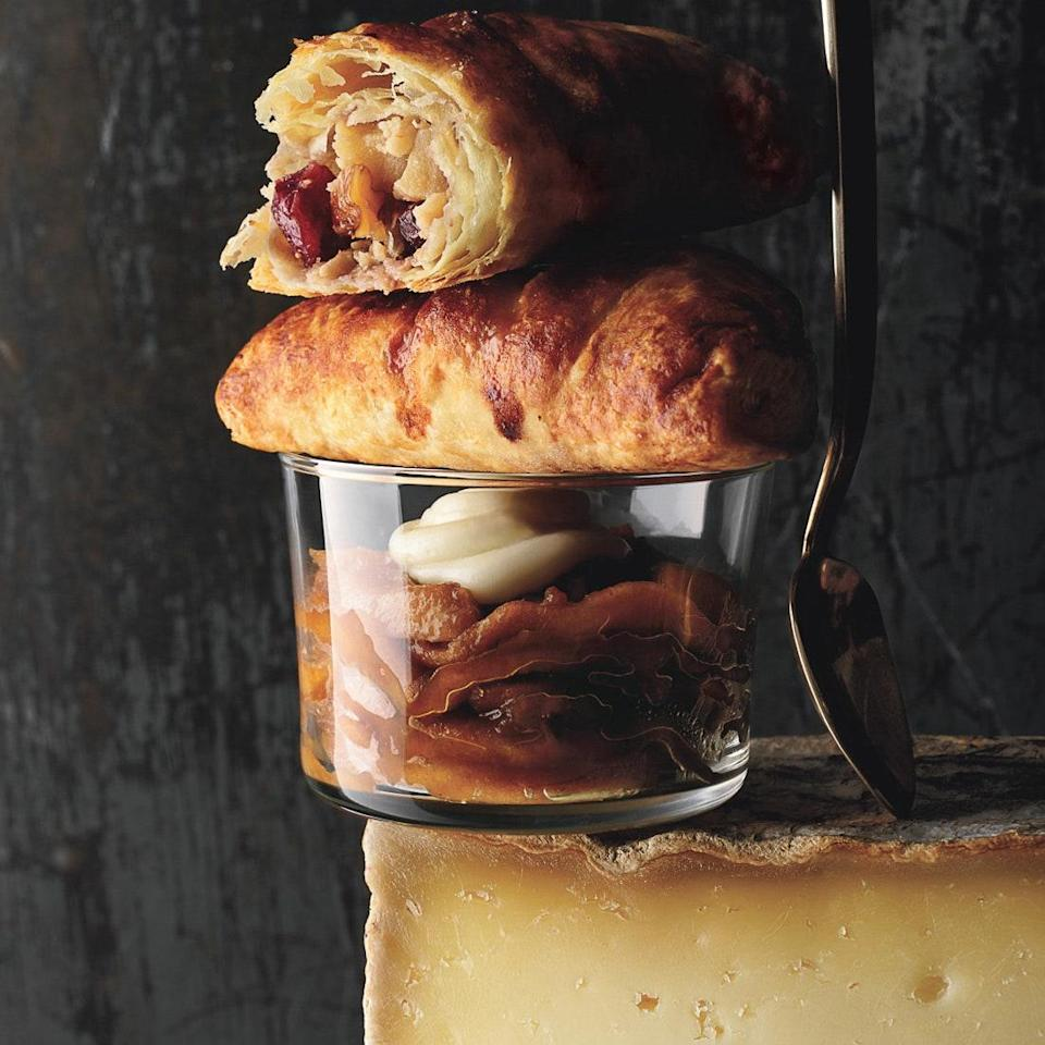 """Golden Delicious apples hold their shape even when baked at a hot temperature and wrapped in puff pastry. Their honeyed flavor adds just the right amount of sweetness to balance these slightly savory turnovers. <a href=""""https://www.epicurious.com/recipes/food/views/golden-delicious-apple-and-cheddar-turnovers-with-dried-cranberries-355217?mbid=synd_yahoo_rss"""" rel=""""nofollow noopener"""" target=""""_blank"""" data-ylk=""""slk:See recipe."""" class=""""link rapid-noclick-resp"""">See recipe.</a>"""