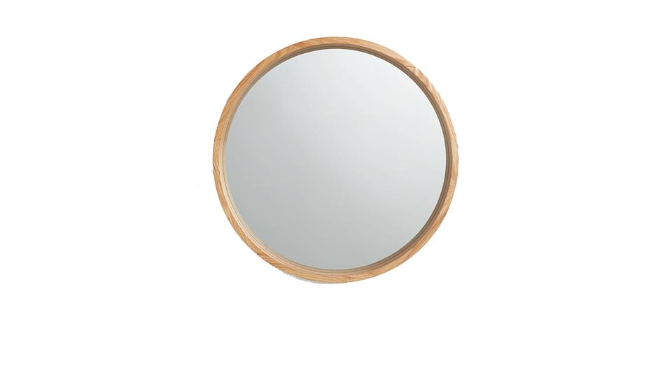 Scandi Round Oak Wood Mirror