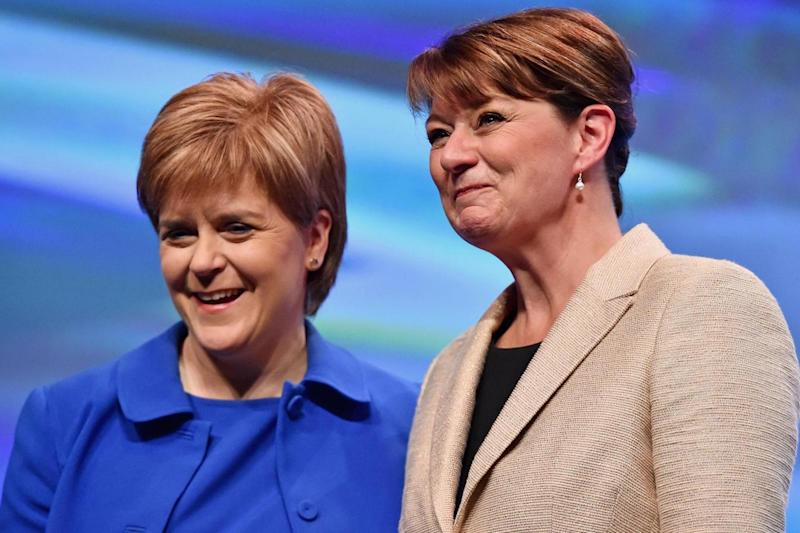 Plaid Cymru leader Leanne Wood (right) with Scottish First Minister Nicola Sturgeon. (Getty Images)