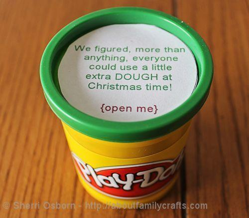 """<p>Because everyone loves Play-Dough … almost as much as the other kind of play dough. <i>(Photo: <a href=""""http://aboutfamilycrafts.com/money-gifts/"""" rel=""""nofollow noopener"""" target=""""_blank"""" data-ylk=""""slk:About Family Crafts"""" class=""""link rapid-noclick-resp"""">About Family Crafts</a>)</i></p>"""