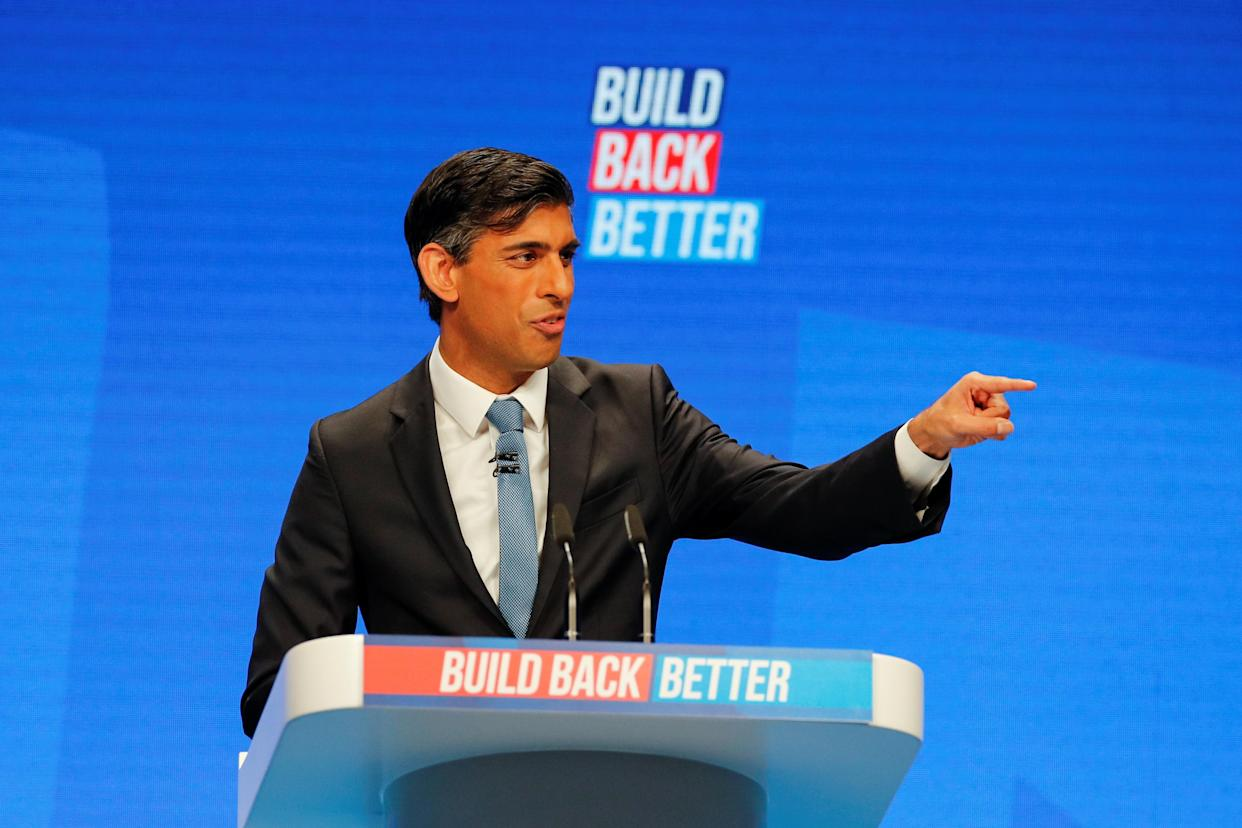 Britain's Chancellor of the Exchequer Rishi Sunak gestures as he delivers a speech during the annual Conservative Party conference, in Manchester, Britain, October 4, 2021. REUTERS/Phil Noble