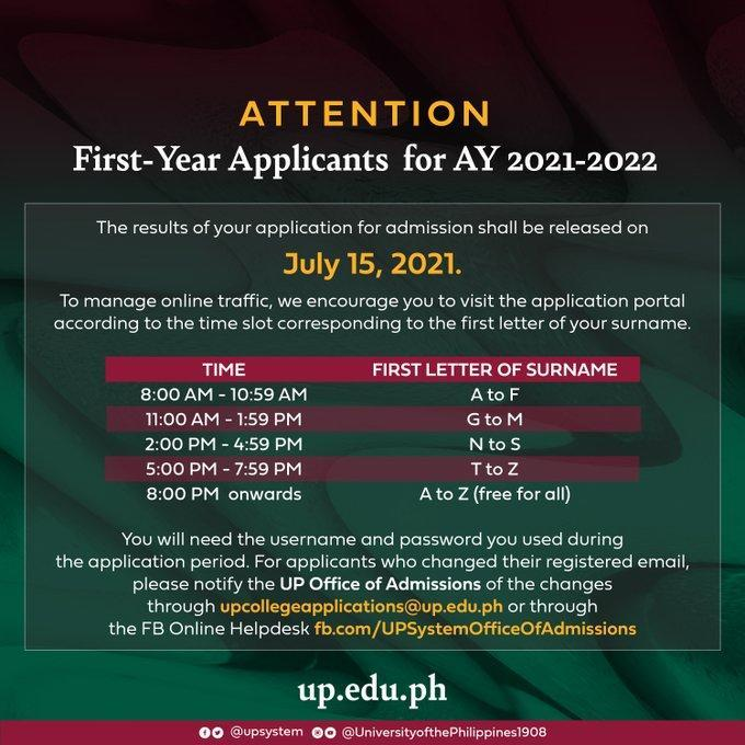 Note that the correct email address is upcollegeapplications.oadms@up.edu.ph. Good luck, freshies!