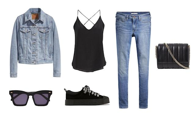 <p>Maxwell's airport style is made for all denim lovers. Copy her look by pairing your favorite light-washed trucker jacket and skinny jeans with a simple black cami underneath. Accessorize with all-black accessorizes and sneakers for a sleek, model-approved look. </p>
