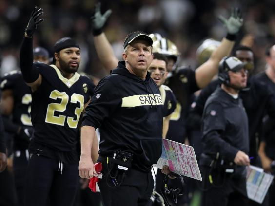 Under current rules head coach Sean Payton was unable to challenge the call (Getty Images)