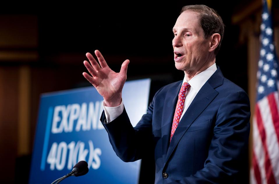 UNITED STATES - OCTOBER 31: Sen. Ron Wyden, D-Ore., participates in the Senate Democrats' news conference to unveil a plan to protect and expand retirement savings on Tuesday, Oct. 31, 2017. (Photo By Bill Clark/CQ Roll Call)
