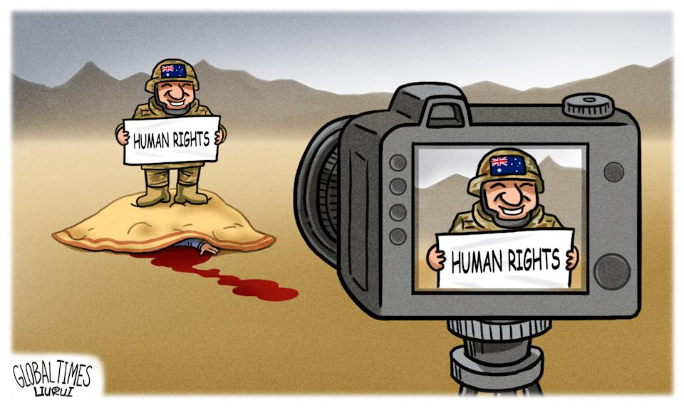 Chinese state media continued its attack on Australia with a series of cartoons. Source: The Global Times