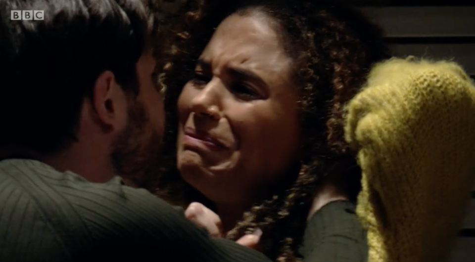 Chantelle (Jessica Plummer) is terrified as Gray (Toby Alexander Smith) grabs her hair in EastEnders.