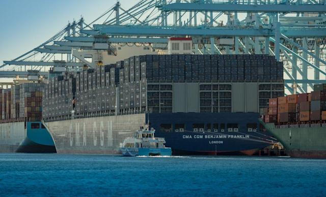 The CMA CGM SA operated Benjamin Franklin sits docked at the Port of Los Angeles, in Los Angeles, California, U.S., on Saturday, Dec. 26, 2015. The Benjamin Franklin is the largest container vessel to ever call at a U.S. port, with a capacity of nearly 18,000 Twenty-Foot Equivalent Units (TEUs) it is longer than the Empire State Building and wider than an American football field.