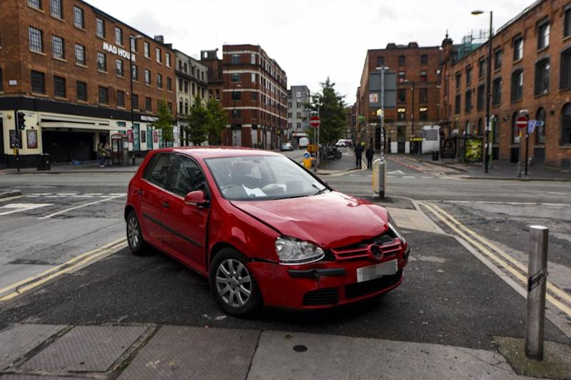 The vehicle, which was left on a traffic island in the centre of Stevenson Square in Manchester's Northern Quarter has prompted much speculation among local workers. Photo: Caters News