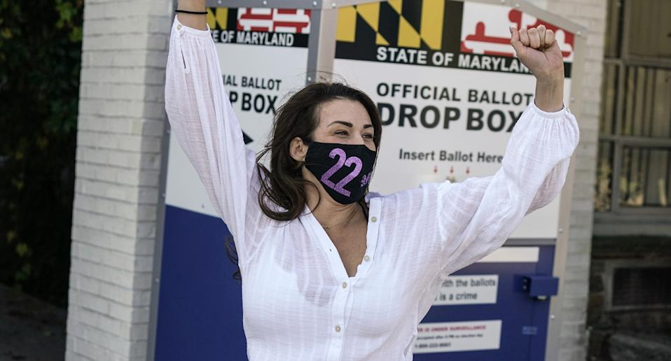 Woman celebrating after voting in the US election.