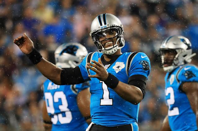 Quarterback Cam Newton is still looking for a team. (Photo by Streeter Lecka/Getty Images)