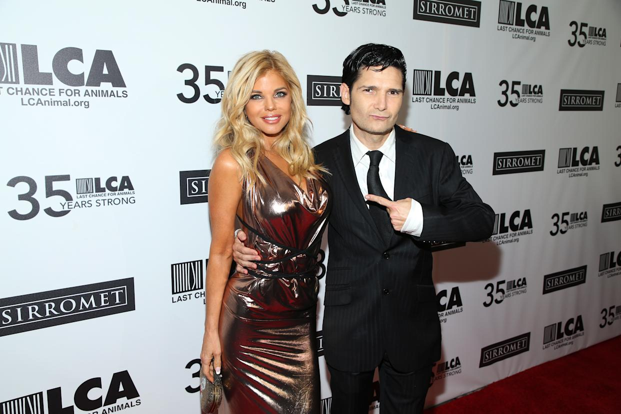 BEVERLY HILLS, CALIFORNIA - OCTOBER 19:  Donna D'Errico and Corey Feldman attend Last Chance For Animals' 35th Anniversary Gala at The Beverly Hilton Hotel on October 19, 2019 in Beverly Hills, California. (Photo by Phillip Faraone/WireImage)