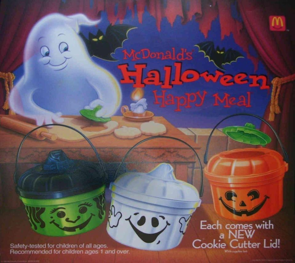 """<p>If you have one of these pumpkin pails from McDonald's sitting around your home, it probably dates back to the early '90s. <a href=""""http://euclidboo.com/mcdonalds-halloween-happy-meal-1990-halloween-pails/"""" rel=""""nofollow noopener"""" target=""""_blank"""" data-ylk=""""slk:The MicWitch and McGhost"""" class=""""link rapid-noclick-resp"""">The MicWitch and McGhost</a> were first introduced in 1990, but went through a few updates in the following years. </p>"""