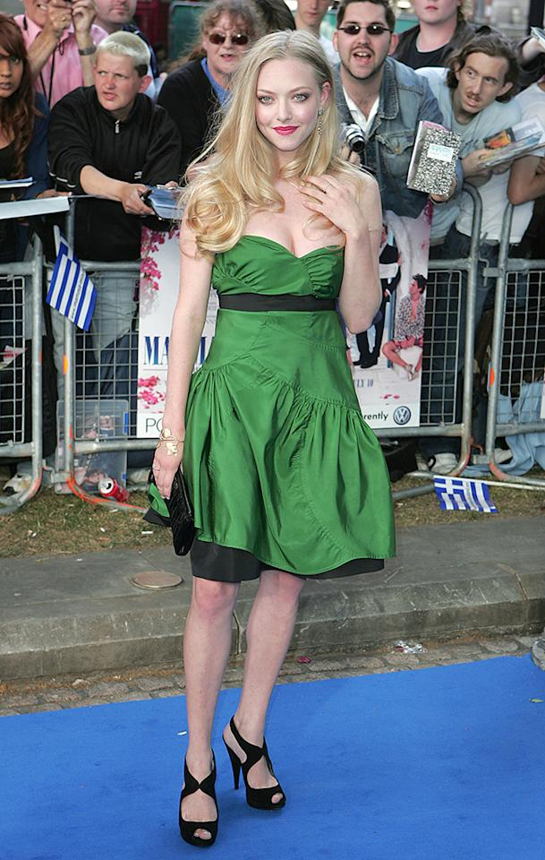 """LONDON - JUNE 30:  Amanda Seyfried who plays Sophie attends  the World Premiere of """"Mamma Mia!"""" at The Odeon Leicester Square on June 30, 2008 in London, England. (Photo by Fred Duval/FilmMagic)"""