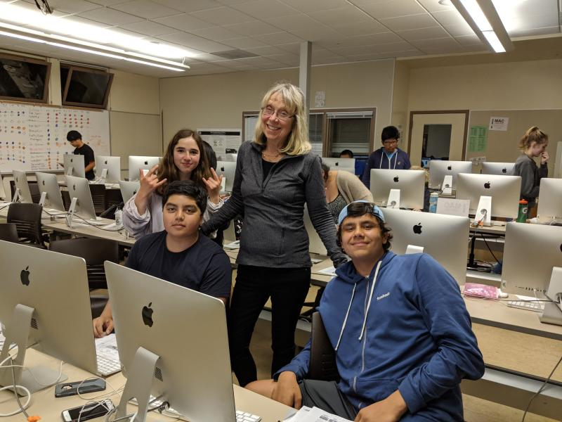 Esther Wojcicki with students from her Palo Alto High School media arts class. Photo: Supplied by Esther Wojcicki
