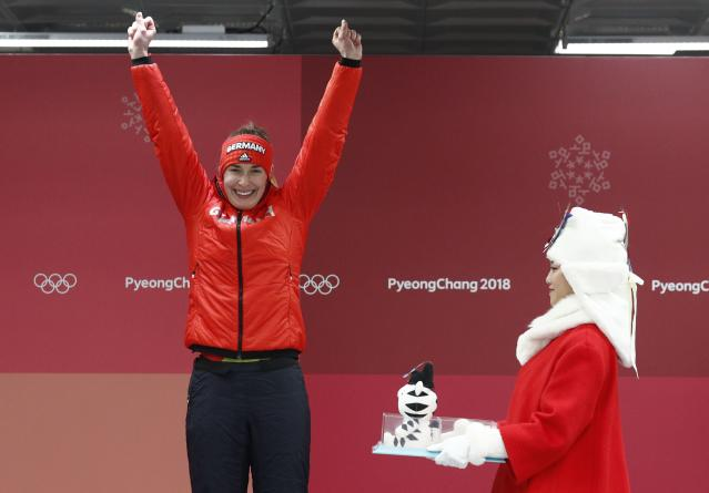 Skeleton - Pyeongchang 2018 Winter Olympics – Women's Finals - Olympic Sliding Center - Pyeongchang, South Korea – February 17, 2018 - Jacqueline Loelling of Germany celebrates. REUTERS/Edgar Su