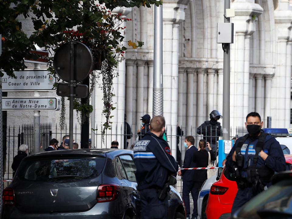 <p>Three people died on Thursday in an attack on a Nice church</p>REUTERS
