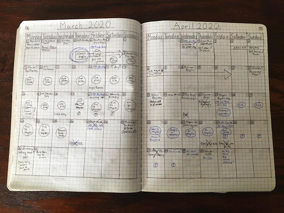 "Bullet journal created and submitted by Tanya Gibb to the Autry. ""On March 5th, 2020, I came down with COVID-19 symptoms. When I went to the hospital, I could not get a test. After going back to the ER three times, I was eventually hospitalized. I was still not tested,"" she said.<span class=""copyright"">Courtesy The Autry Museum</span>"