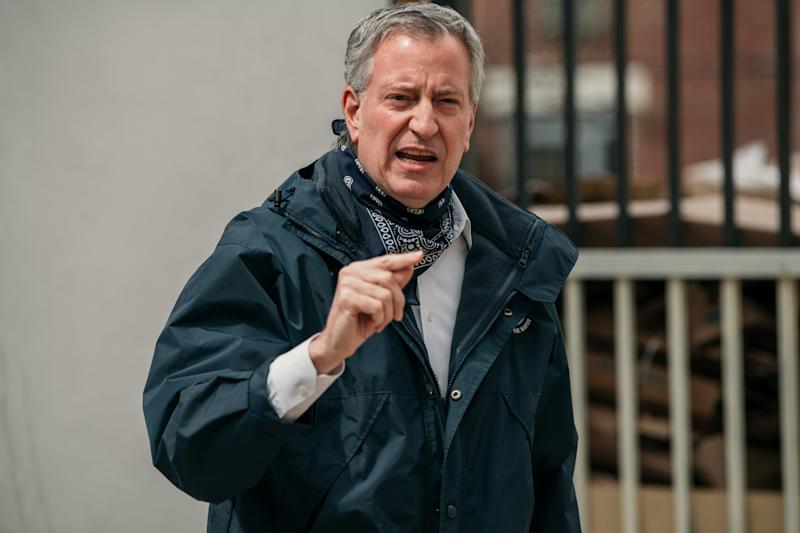 New York City Mayor Bill de Blasio speaks at a food shelf organized by The Campaign Against Hunger in Bed Stuy, Brooklyn on April 14, 2020 in New York City. (Scott Heins/Getty Images)