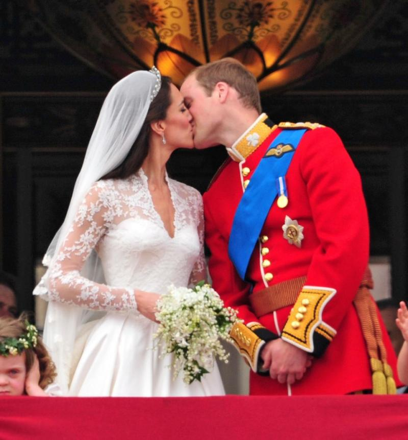 Prince William and Kate Middleton famously kissed on the Buckingham Palace balcony on their wedding day. Photo: Getty Images