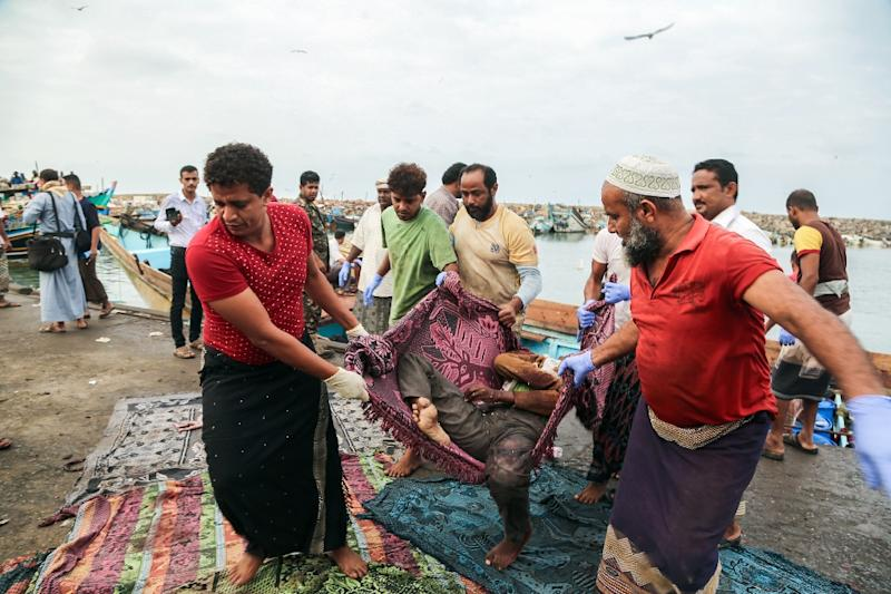 The refugees were hit by light weapons fire in waters off the rebel-held Yemeni port city of Hodeida