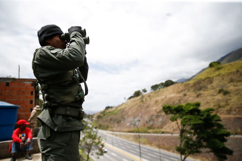 A member of the Venezuelan army takes part in a military exercise in Caracas