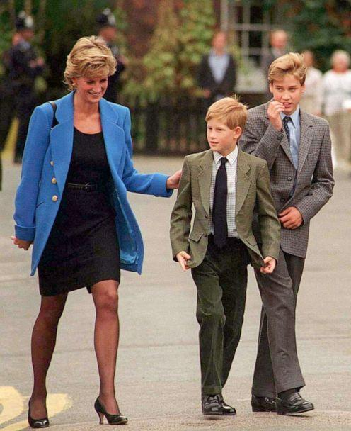PHOTO: Diana, Princess of Wales walks with sons Prince Harry and Prince William at the Eton College, Berkshire, England, Sept. 6, 1995.  It was Prince William's first day at the school. (Anwar Hussein/WireImage via Getty Images)