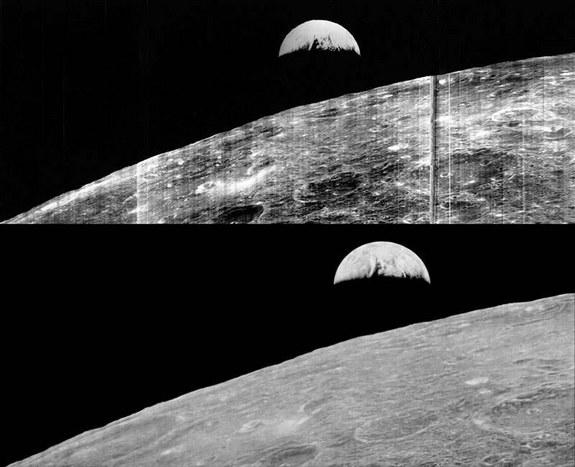 """""""Earthrise"""" as seen in 1966 (top), and then again in 2008 as recovered by the Lunar Orbiter Image Recovery Project."""