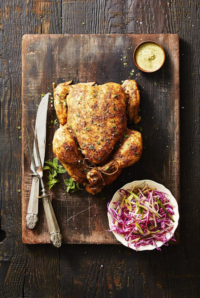 "<p>Who needs a store-bought rotisserie chicken anyway?!  Just pop a whole chicken in the pressure cooker and flavor it with a pureed herb sauce. <br></p><p><em><a rel=""nofollow"" href=""http://www.goodhousekeeping.com/food-recipes/a42374/crock-pot-chicken-walnut-herb-recipe/"">Get the recipe for Crock-Pot Chicken with Walnut-Herb Sauce »</a></em><br></p>"