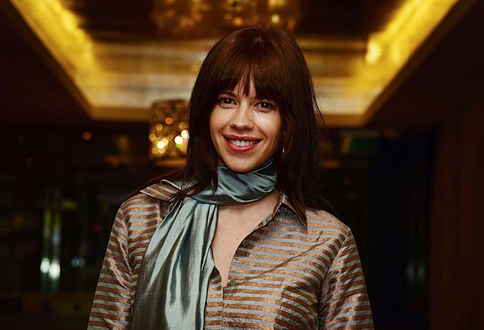 Kalki Koechlin attends a ceremony to bestow Koechlin with the French distinction of the Knight of the Order of Arts and Letters in Mumbai on June 22, 2018. (Photo by Sujit JAISWAL / AFP)