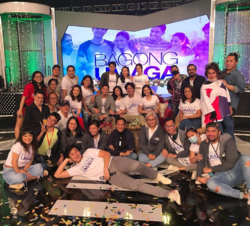 Nikki Valdez with the cast and crew of 'Bagong Umaga', always giving their all to give good entertainment.