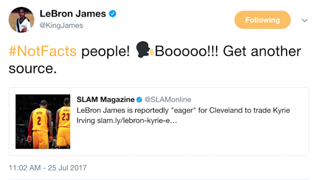 "Maybe LeBron James isn't so ""eager"" to see Kyrie Irving go. (Twitter)"